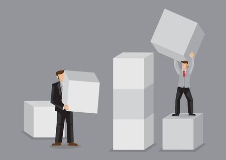 Two cartoon business persons holding huge building block. Creative vector illustration for building business from scratch concept isolated on grey background. Ilustracje wektorowe