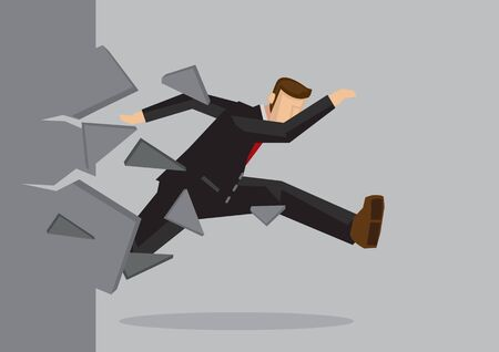 Creative cartoon vector illustration of businessman breaking wall. Metaphor concept about breaking through obstacle to achieve success.
