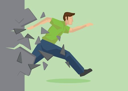 Creative cartoon vector illustration of employee breaking wall. Metaphor concept about breaking through obstacle to achieve success.