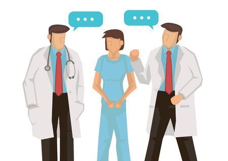 Medics, nurses or doctors talking at hospital. Hospital colleagues teamwork conversation. Vector illustration.