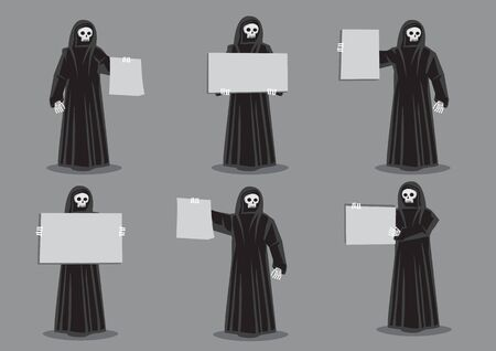 Set of six vector illustration of cartoon skeleton dressed in long black robe and holding blank placard with copy space isolated on grey background for horror and halloween concept. Ilustrace