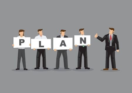 A group of employees holding signs with alphabets forming the word PLAN and manager holds thumbs up gesture. Cartoon vector illustration on business planning concept.