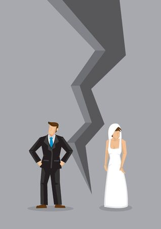 Creative cartoon vector illustration of sad couple turning away from each other. Concept of breaking up relationship after argument. Message of crisis, failure, separation or divorce of couple. Vector Illustration