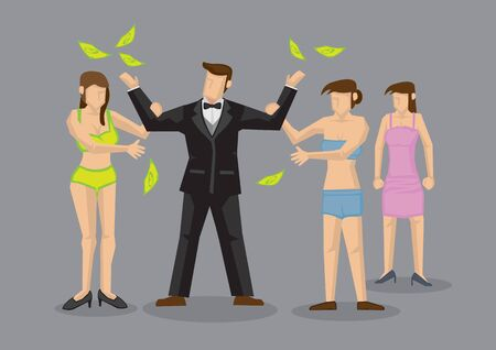 Businessman throwing up money and attracting lots of sexy ladies. Concept of a dream, success or wealth. Flat vector illustration Illustration
