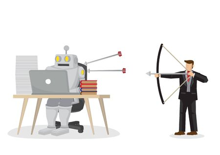 Business concept illustration of a businessman shooting arrows at a robot, trying to eliminate him for taking over his job. Concept of automation, artificial intelligence and corporate culture. Vector Illustration.