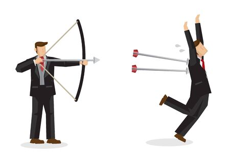 Business concept illustration of a businessman shooting arrows at another businessman, trying to eliminate him. Concept of backstabbing, sabotage and corporate culture. Vector Illustration. 矢量图像