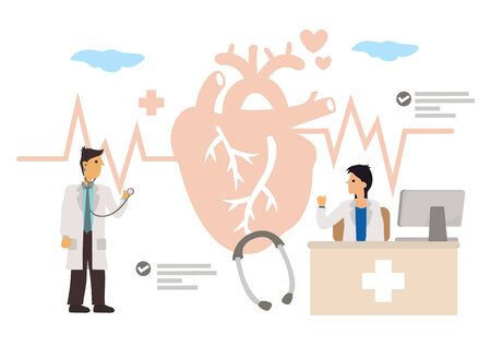 Doctors study for a Heart Medication Solution. Cardiology Health Care Concept. Flat Cartoon Character Vector Illustration.