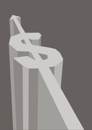 Dollar money sign/symbol arrow rock path. Concept of investment, corporate profit or financia growth. Vector illustration.