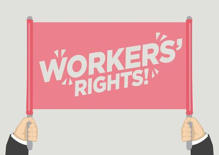 People raised hands and shouting with workers rights. Concept of revolution or protest. Vector illustration.