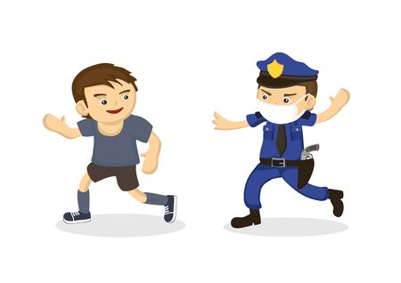 Policeman chasing a man not wearing a mask. The concept of mischief rebellious man during covid-19. Flat cartoon character vector illustration isolated on white background.