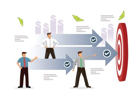 Businesspeople aiming to their target. Concept of business goal target. Flat cartoon character vector illustration. 向量圖像