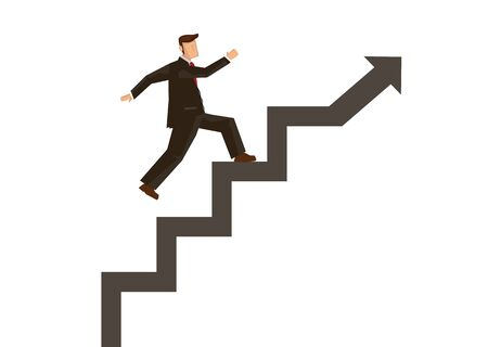 Businessman stepping up on stairway build on a rising arrow. Growth business finance investment success concept. Abstract flat cartoon character vector illustration isolated on white background.
