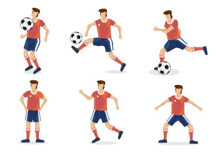 A set of soccer players of six. Isolated flat vector illustration.