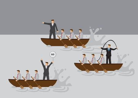 Businessmen in boat rowing competition with leaders using different leadership styles to motivate team. Cartoon vector illustration for business metaphor on types of leaders and leadership styles. Illustration