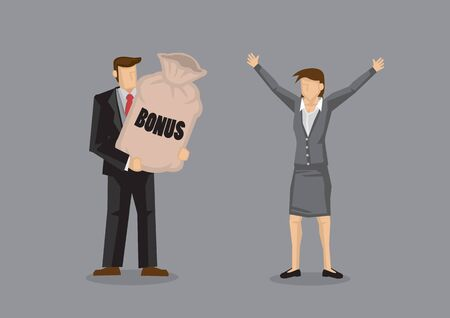 Cartoon man presenting a big sack with title Bonus to delighted woman executive with welcoming open arms gesture. Vector illustration on work incentives concept isolated on grey background. Illustration
