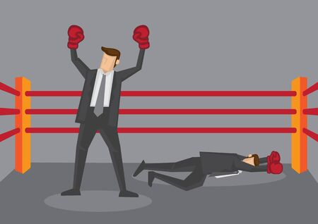 Business executive wearing boxing gloves standing in boxing ring as winner and defeated opponent lying flat on floor. Creative vector cartoon illustration isolated on grey background.