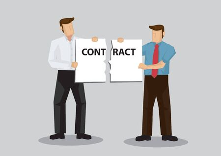 Businessmen holding a torn contract. Cartoon vector illustration on metaphor for breaking a contract isolated on plain background.