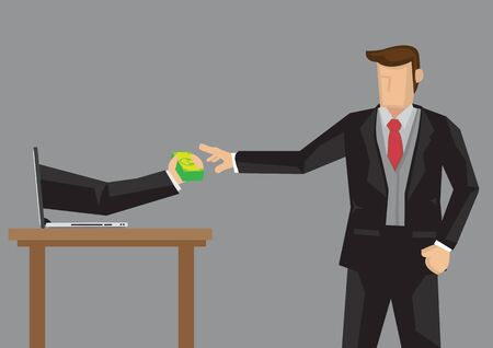 Businessman taking money from hand extended from laptop computer. Creative cartoon vector illustration on business transaction over the computer in digital age.