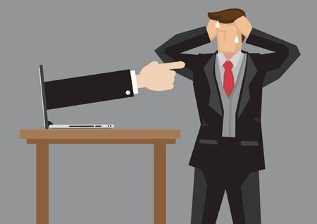 Businessman gets scolded by the online comments. Concept of corporate communication or discrimination. Vector isolated illustration.