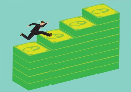 Businessman jumping over stacks of money. Concept of asset management and cash investment. Vector illustration.
