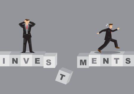 Cartoon businessmen standing on bridge made of alphabet blocks spelled Investments. Creative vector illustration on risk investments metaphor.