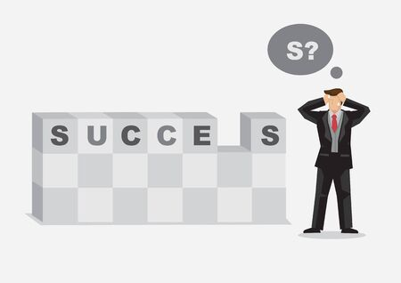 Cartoon businessman cannot find last piece of block to form word Success. Creative vector illustration on metaphor for missing piece to success in business.