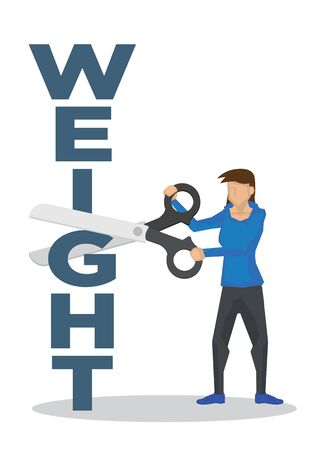 Girl using a giant scissor to cut a weight block. Concept of weight loss, trimming, healthy lifestyle or fitness. Vector illustration. Illusztráció
