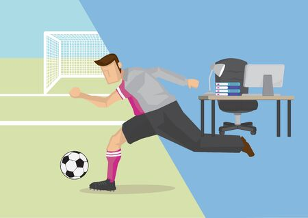 Vector Illustration of the concept of life and work balance. Young businessman in suit in the office and on the soccer field. Divided in two parts.