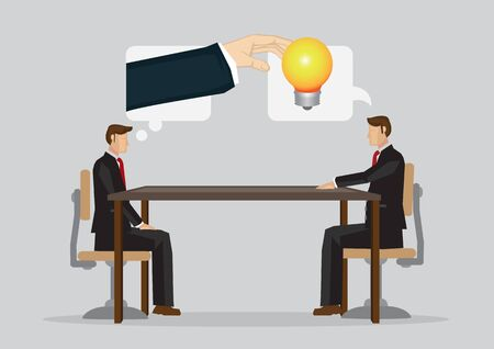 Businessman steal idea from his colleague in business meeting. Vector illustration isolated on plain grey background.