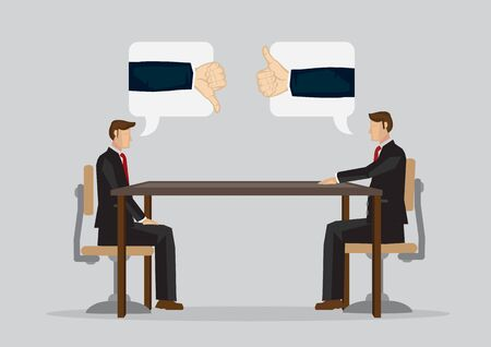 Two cartoon professionals cannot meet eye to eye in business meeting. Vector illustration isolated on plain grey background.
