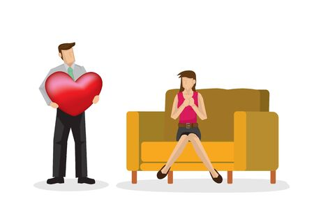 Man giving a big heart to his girlfreind. Concept of valentine day or loving couple. Isolated vector illustration.