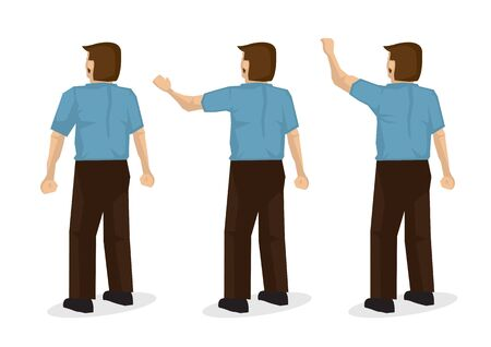 Set of three of a back view of a man in blue waving. Flat isolated vector illustration;