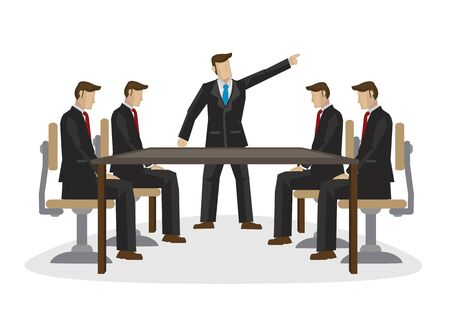 Businessman or boss scolding his colleagues in a meeting. Concept of office politics, corporate conflict or work not doing well. Isolated vector illustration.
