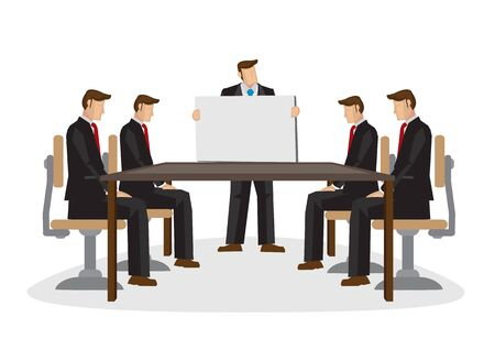 Illustration of corporate business team discussion with the leader giving a presentation. Business concept of teamwork.