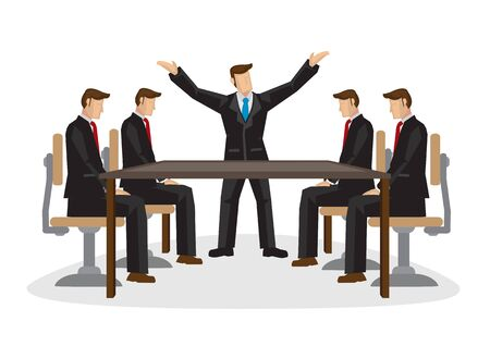 Businesspeople discussing together in a conference meeting. Isolated vector cartoon illustration. 向量圖像