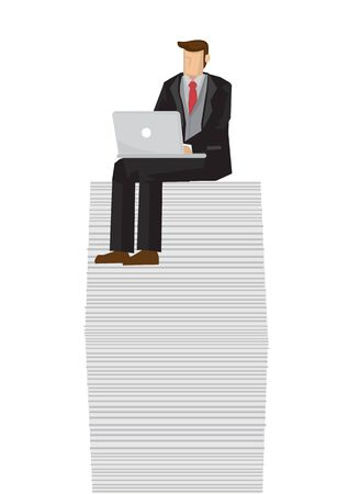 Businessman on top of a tall stack of document. Concept of profitable business growth.