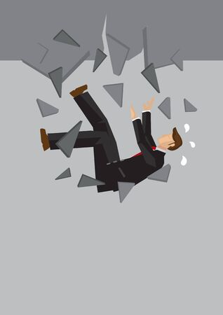 Creative cartoon vector illustration of businessman falling. Metaphor concept about failure of businessman