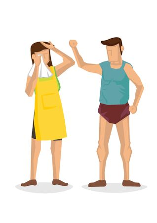 Man beating up his wife. Domestic violence or family abuse concept. Vector illustration. 向量圖像