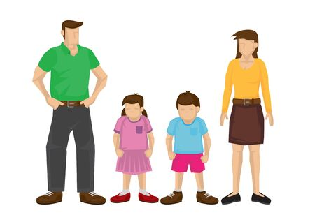Illustration of a family of four. Vector cartoon illustration. 向量圖像