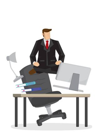 Businessman float from his office space. Metaphor of business guru. Vector isolated illustration