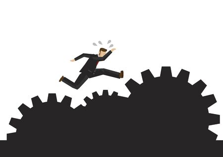 Businessman running on the rocky path making up of gears. Concept of motivation, overcoming risk, challenge or corporate problem. Vector illustration 向量圖像