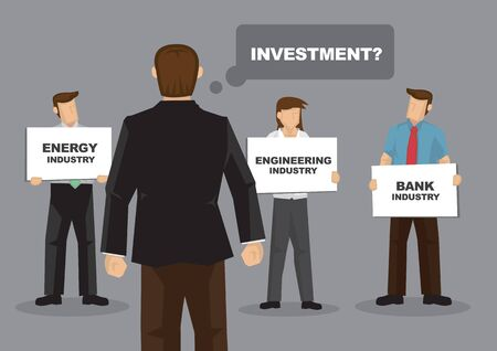 Cartoon boss demand his employee for investment ideas and getting different option. Vector illustration.