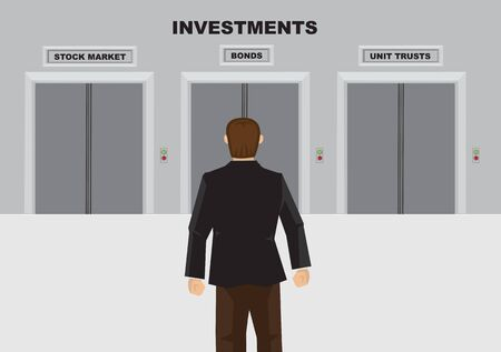 Cartoon man choosing the investment plan he want. Vector illustration.