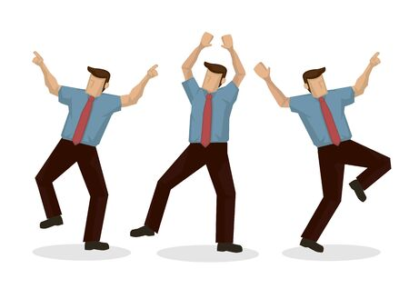 A set three businessman dancing with joy. Concept of successful entrepreneur or winning a corporate deal. Isolated vector illustration.