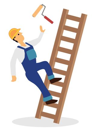 Worker falling from ladder. Workplace accident or construction safety concept. Flat cartoon character vector isolated on a white background.