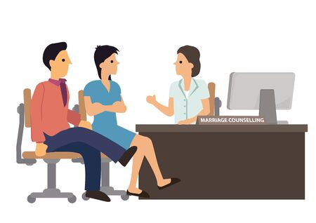 Couple in marriage counseling. Advice from a psychologist, counselor, therapist, psychiatrist or relationship consultant during a therapy session. Vector illustration