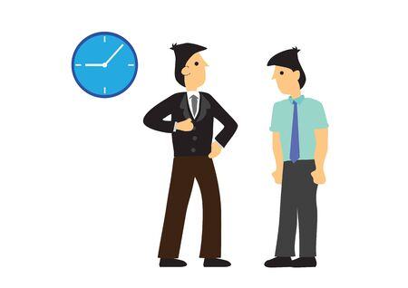 Angry boss complaining his employee for being coming late to work. Employee performance or punctuality concept. Vector illustration.