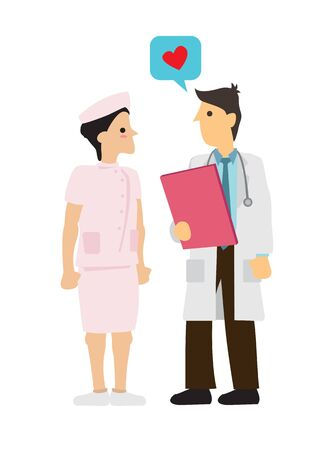Doctor expresses his love for his coworker. Workplace relationship concept. Vector illustration. 向量圖像