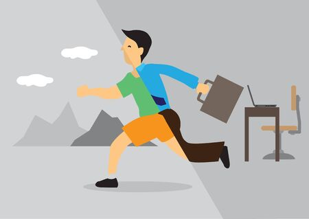 Businessman transforms from office into leisure activity. Concept of work life balance, transformation or going for a vacation. Vector illustration.
