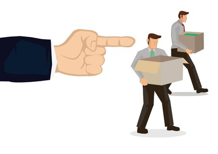 Employer fired employees. Mass layoff or retrenchment concept. Vector illustration. 向量圖像